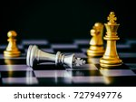 the king in chess game stand on ... | Shutterstock . vector #727949776