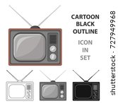 old tv.old age single icon in... | Shutterstock .eps vector #727949968