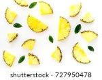pinneapple slices and leaves...   Shutterstock . vector #727950478