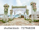 beautiful wedding decorated on... | Shutterstock . vector #727968208