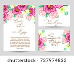 invitation with floral... | Shutterstock . vector #727974832