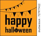 happy halloween flag text vector | Shutterstock .eps vector #727977412
