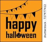 happy halloween flag text vector | Shutterstock .eps vector #727977412