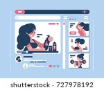 cute girl shoots fashionable... | Shutterstock .eps vector #727978192