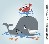 playing water with whale and... | Shutterstock .eps vector #727980586