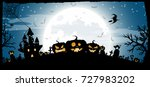 halloween night concept vector... | Shutterstock .eps vector #727983202
