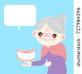 old woman with denture on the... | Shutterstock .eps vector #727984396