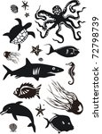 marine animals vector set | Shutterstock .eps vector #72798739