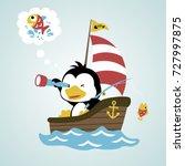 fish hunter penguin  vector... | Shutterstock .eps vector #727997875