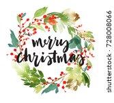 christmas wreath with berries... | Shutterstock . vector #728008066