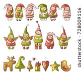 set of different colored gnome... | Shutterstock .eps vector #728009116