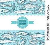 hand drawing vector seafood... | Shutterstock .eps vector #728009122