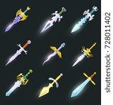 magic swords cartoon icons set. ...