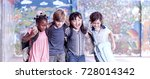 multi ethnic group of children... | Shutterstock . vector #728014342