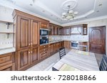 the kitchen is solid wood in a ... | Shutterstock . vector #728018866