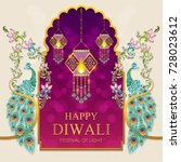happy diwali festival card with ... | Shutterstock .eps vector #728023612