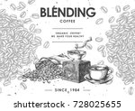 coffee product label with black ... | Shutterstock .eps vector #728025655