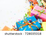 colored gifts for the new year  ... | Shutterstock . vector #728035318