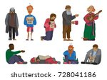 homeless people characters... | Shutterstock .eps vector #728041186