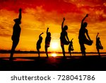 silhouette yoga team practicing ... | Shutterstock . vector #728041786