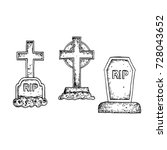 graves with a tombstone and... | Shutterstock .eps vector #728043652