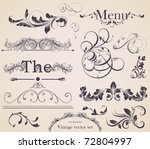 vector set: calligraphic design elements and page decoration - lots of useful elements to embellish your layout, detailed antique and baroque frames.