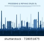 oil and gas refinery or... | Shutterstock .eps vector #728051875