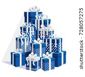 gift boxes with ribbon  bow set ... | Shutterstock .eps vector #728057275