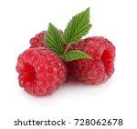 ripe raspberries with green... | Shutterstock . vector #728062678