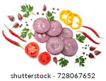 sliced red onion with parsley ... | Shutterstock . vector #728067652