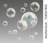 multicolored soap bubbles... | Shutterstock .eps vector #728067802