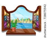 cozy interior home window.... | Shutterstock .eps vector #728075542