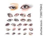 eyes watercolor set of 25... | Shutterstock . vector #728075842