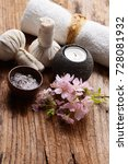 candle  herbal ball with towel ... | Shutterstock . vector #728081932