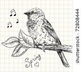 Hand Drawn Sparrow Bird Sitting ...