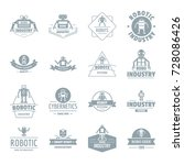 robot logo icons set. simple... | Shutterstock .eps vector #728086426