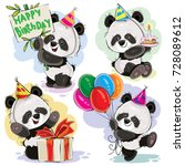 cute panda bears baby cartoon... | Shutterstock .eps vector #728089612
