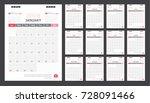 calendar for 2018 white and red ... | Shutterstock .eps vector #728091466