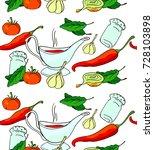 tomato  pepper  onion  garlic ... | Shutterstock .eps vector #728103898