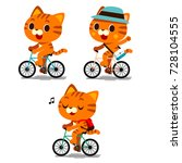 vector set of cute cat... | Shutterstock .eps vector #728104555