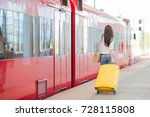 young woman with luggage on the ... | Shutterstock . vector #728115808