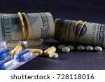 rolls of money  us dollars and...   Shutterstock . vector #728118016