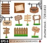 Set Of Vintage Wooden Signboards