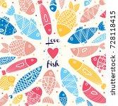 Love Fish  Cute Postcard.