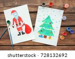 child's paintings of christmas... | Shutterstock . vector #728132692