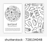 card templates with doodle... | Shutterstock .eps vector #728134048