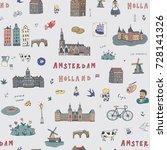 amsterdam holland city doodle... | Shutterstock . vector #728141326