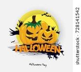 happy halloween pumpkins... | Shutterstock .eps vector #728141542