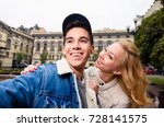 young smiling couple taking a... | Shutterstock . vector #728141575