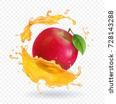 apple fresh juice realistic... | Shutterstock .eps vector #728143288